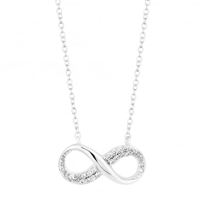Sterling Silver Cubic Zirconia Pave Infinity Necklace