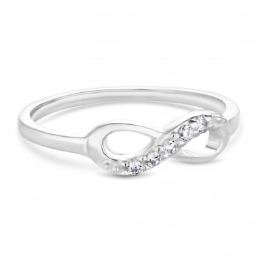 Sterling Silver Cubic Zirconia Pave Infinity Ring