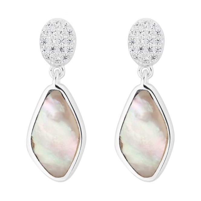 Simply Silver Sterling silver pave mother of pearl drop earring