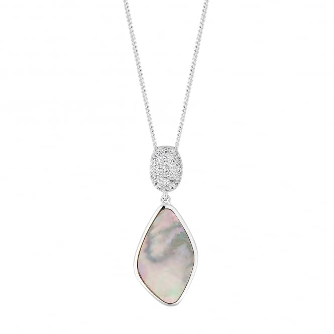 Sterling Silver Pave Mother Of Pearl Drop Necklace