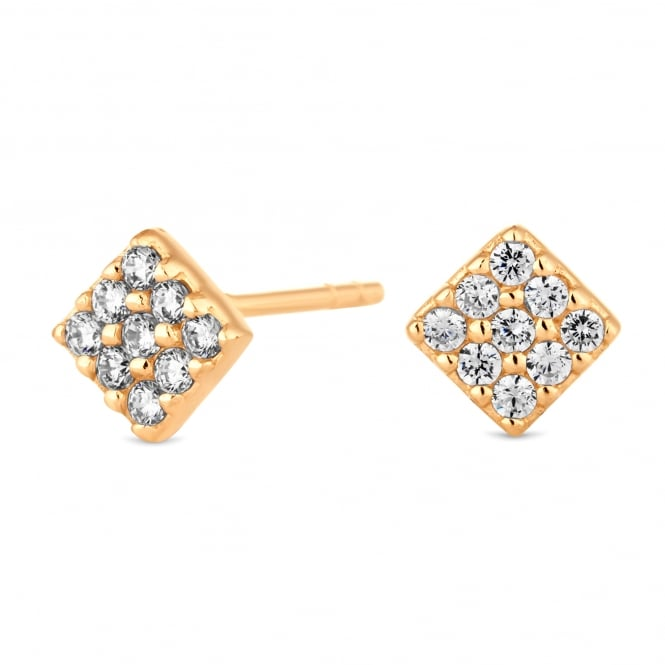 Simply Silver 14ct Gold Plated Sterling Silver Cubic Zirconia Pave Square Stud Earring