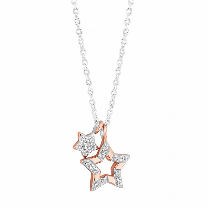 Simply Silver 14ct Rose Gold Plated Sterling Silver Pave Star Charms Pendant Necklace
