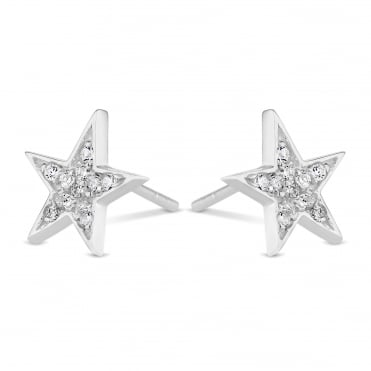 Sterling Silver Pave Star Stud Earring