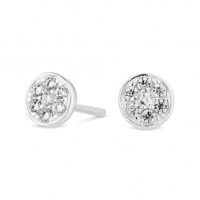 Sterling Silver Cubic Zirconia Pave Disc Stud Earring