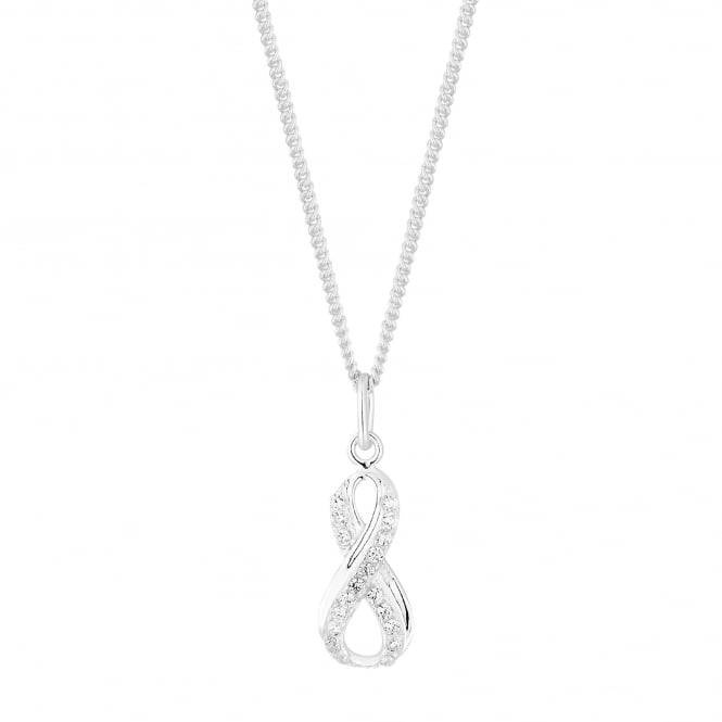 Simply Silver Sterling silver pave swirl infinity necklace