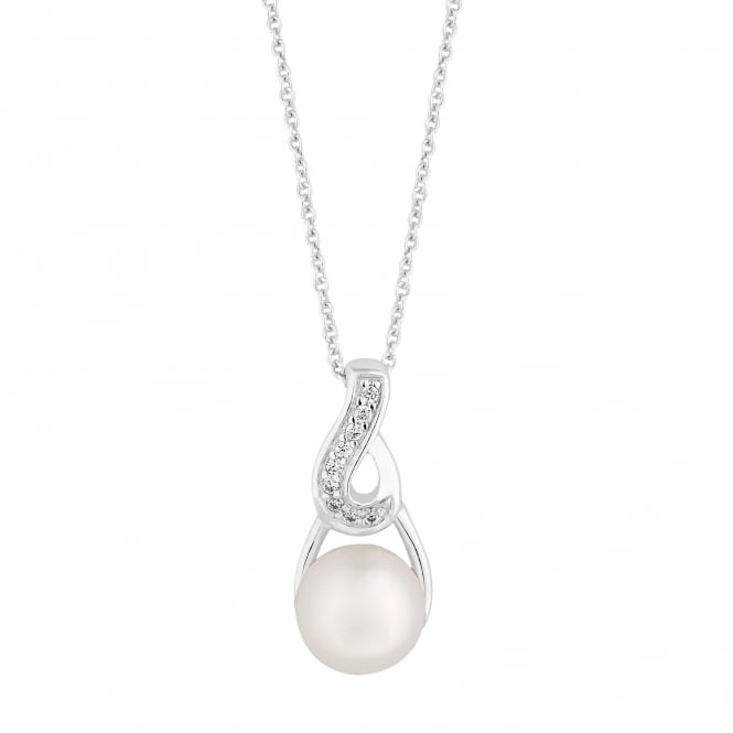 Simply Silver Sterling silver pave swirl pearl drop necklace