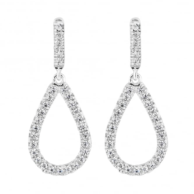 Simply Silver Sterling silver pave teardrop earring