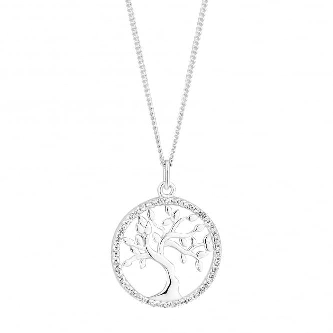 Simply Silver Sterling silver pave tree of life necklace