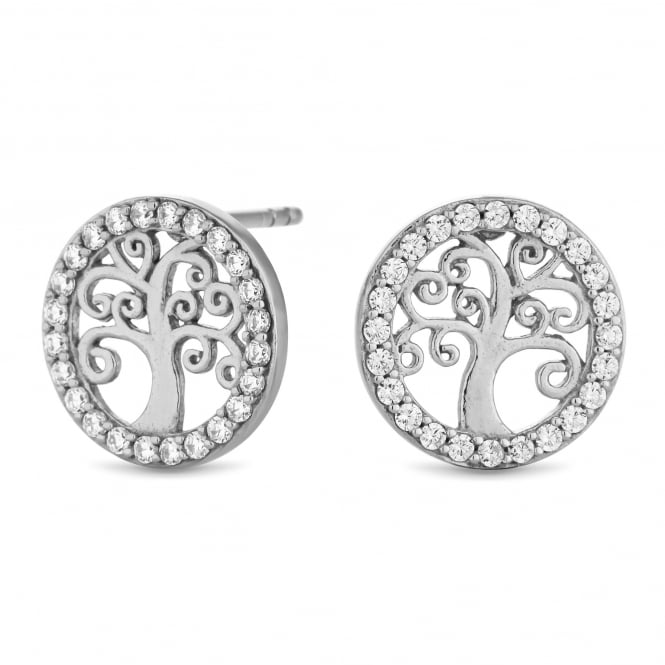Simply Silver Sterling silver pave tree of life stud earring