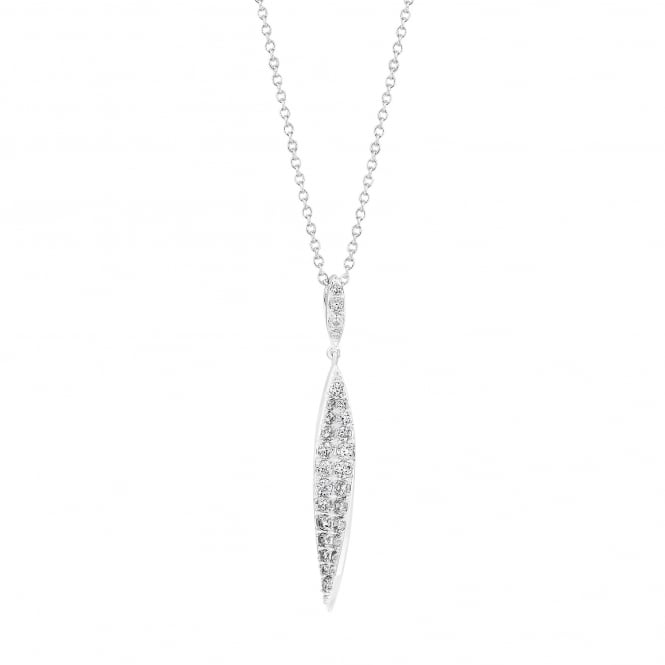 Sterling Silver Cubic Zirconia Pave Twist Pendant Necklace