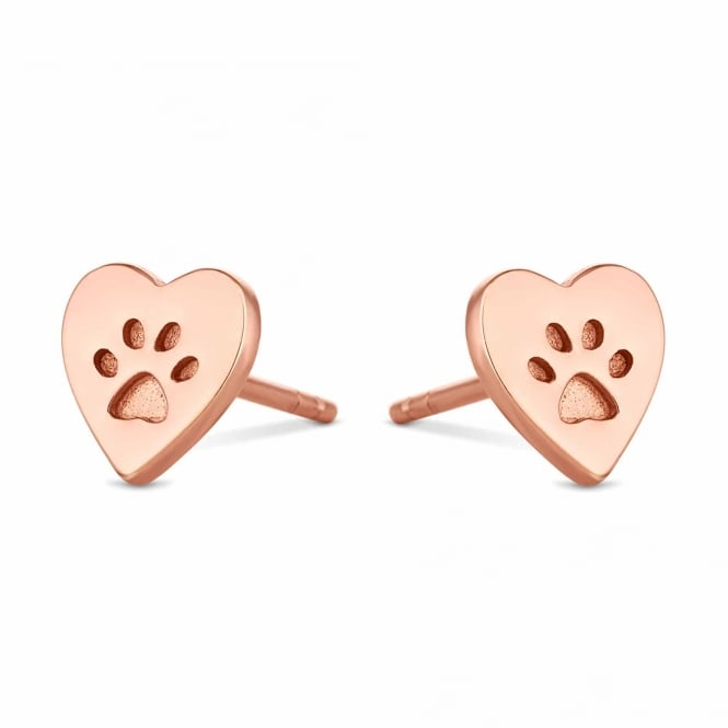 14ct Rose Gold Plated Sterling Silver Paw Print In A Heart Stud Earring