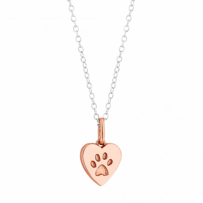 Simply Silver 14ct Rose Gold Plated Sterling Silver Paw Print In A Heart Pendant Necklace