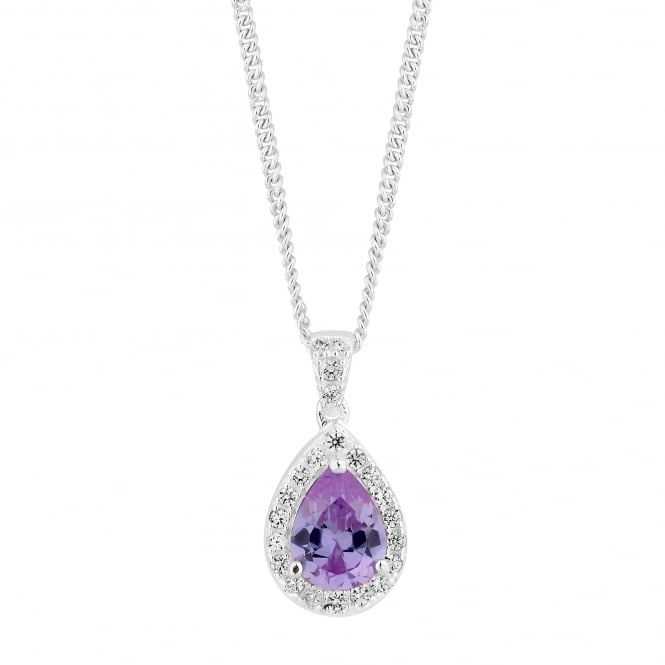 Sterling Silver Purple Cubic Zirconia Pear Drop Pendant Necklace