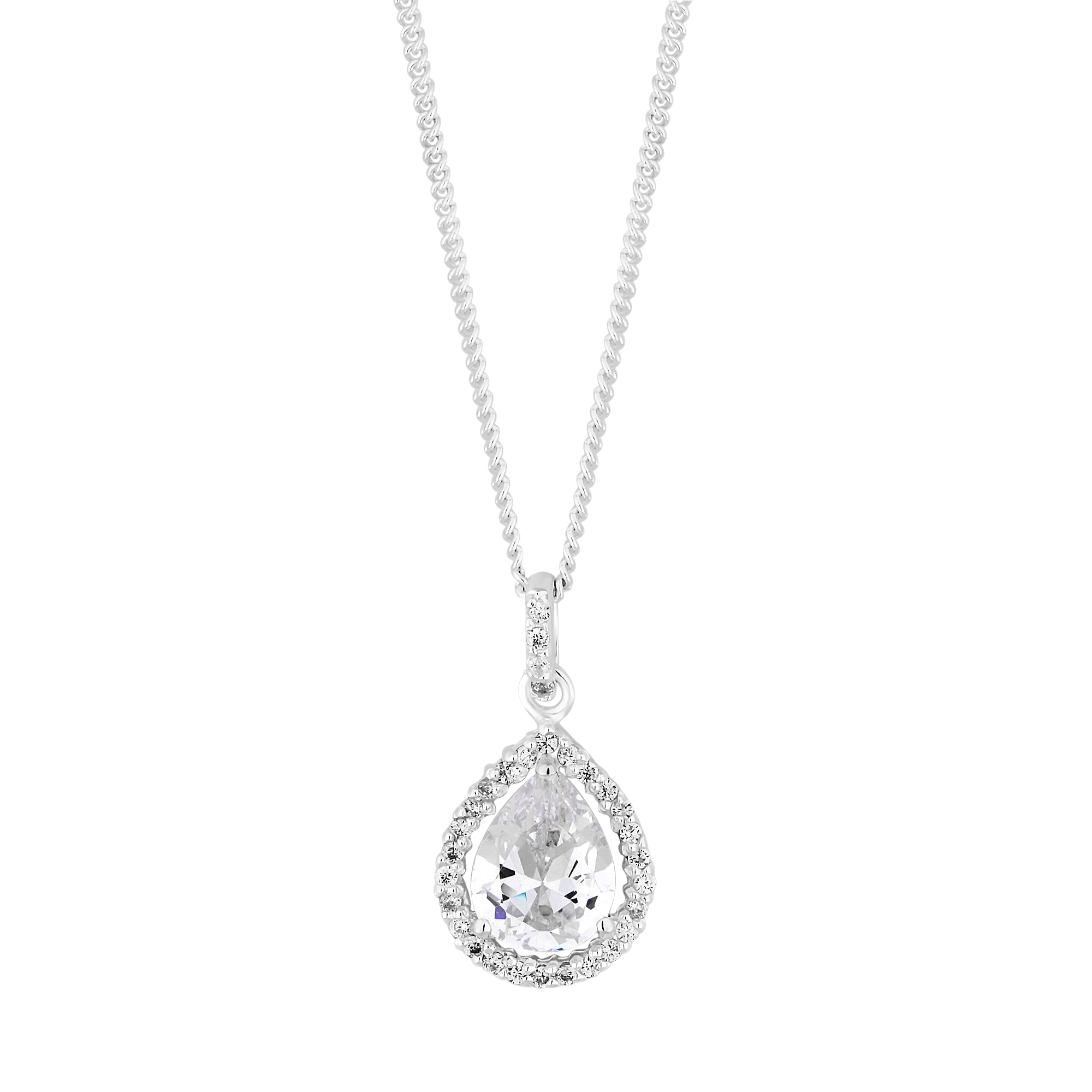 Simply silver sterling silver cubic zirconia pear shaped halo sterling silver cubic zirconia pear shaped halo pendant necklace aloadofball Image collections