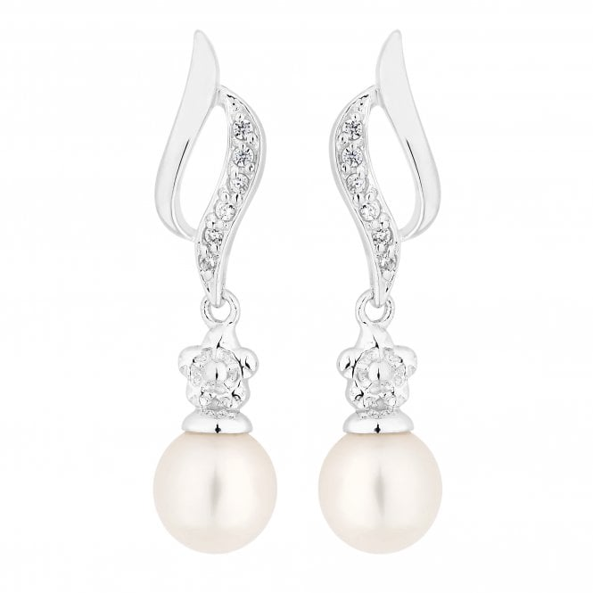 Sterling Silver Pearl And Cubic Zirconia Swirl Drop Earring