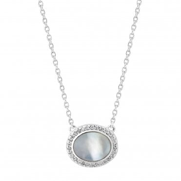 Sterling Silver Pearl Cubic Zirconia Halo Pendant Necklace