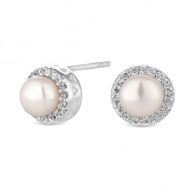 Sterling Silver Pearl Halo Stud Earring