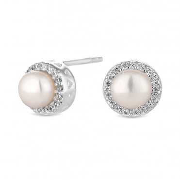 Sterling silver pearl halo earring