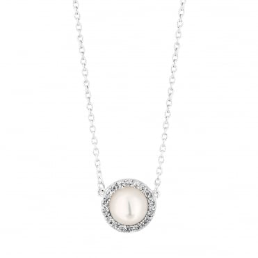 Sterling silver pearl halo necklace