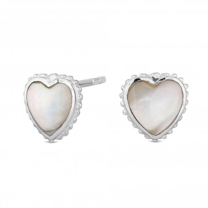 Sterling Silver Pearl Heart Stud Earring