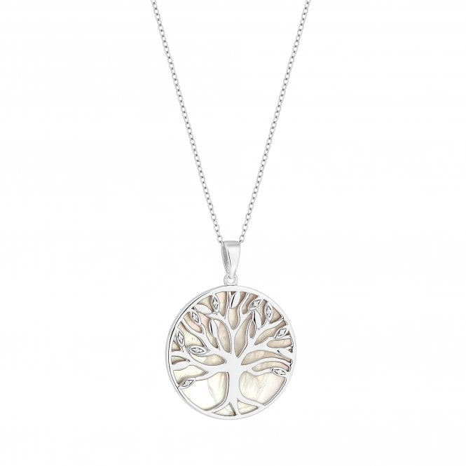 Sterling Silver Pearl Tree Of Life Disc Pendant Necklace