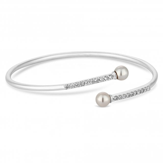 Sterling Silver Pearl Twist Bracelet Embellished With Swarovski Crystals