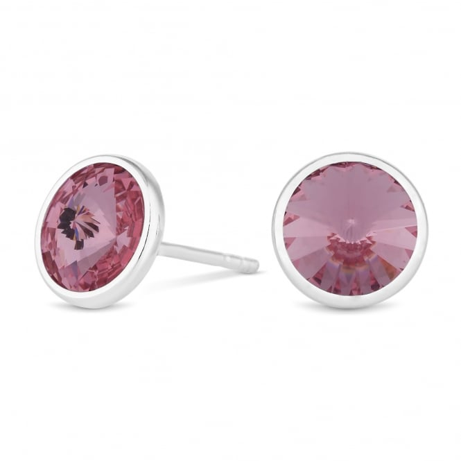Simply Silver Sterling silver pink stud earring created with Swarovski crystals