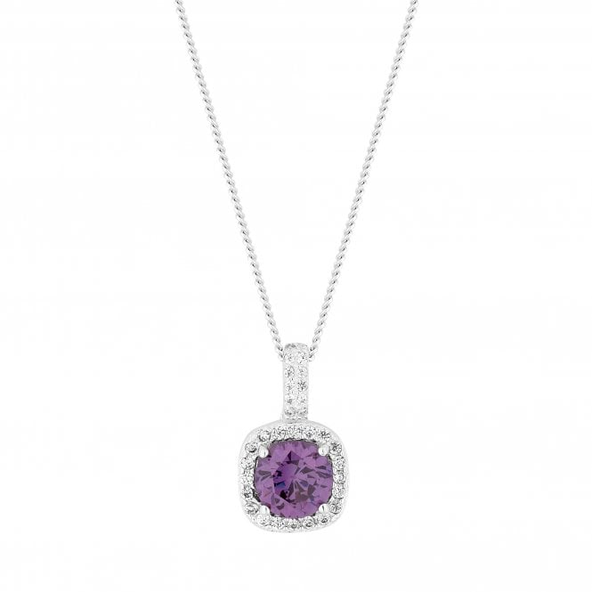 Sterling Silver Purple Cubic Zirconia Square Pendant Necklace