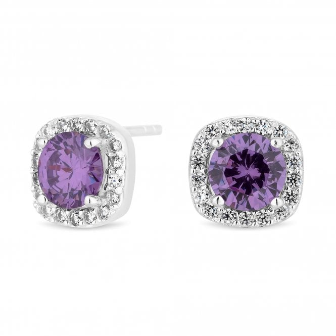 Sterling Silver Purple Cubic Zirconia Square Stud Earring