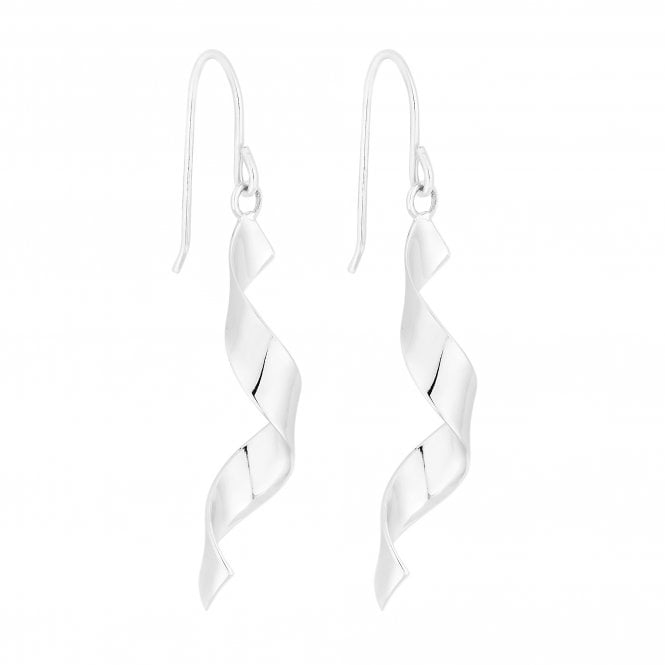Sterling Silver Ribbon Twist Drop Earring
