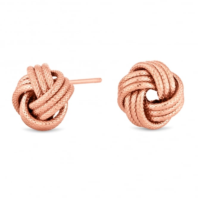 Simply Silver 14ct Rose Gold Plated Sterling Silver Rope Knot Stud Earring