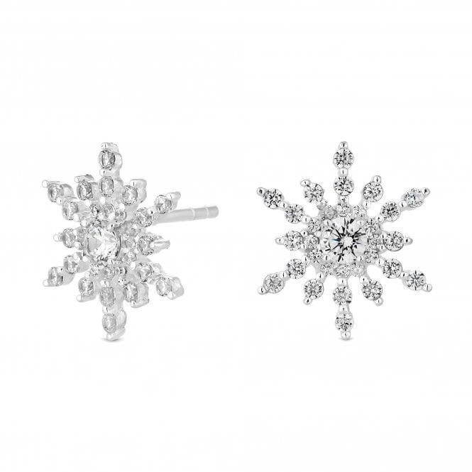 Sterling Silver Snowflake Stud Earring