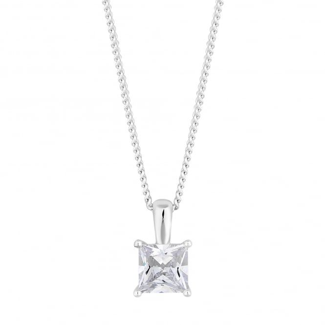 Sterling Silver Square Cubic Zirconia Pendant Necklace
