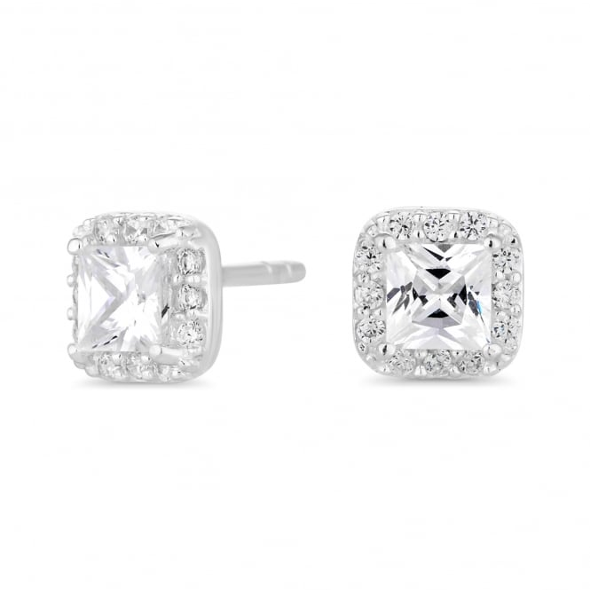 Sterling Silver Cubic Zirconia Square Halo Stud Earring