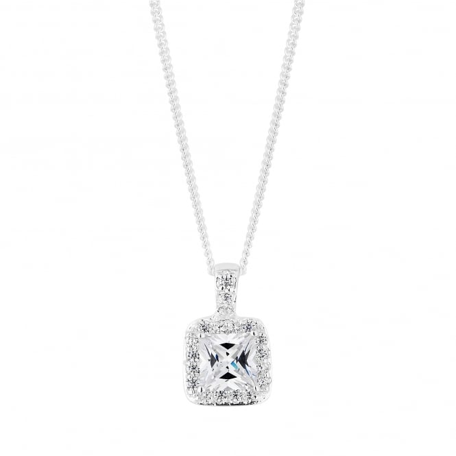 Sterling Silver Cubic Zirconia Square Shaped Halo Pendant Necklace