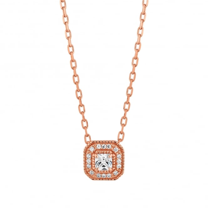 14ct Rose Gold Plated Sterling Silver Square Cubic Zirconia Halo Necklace