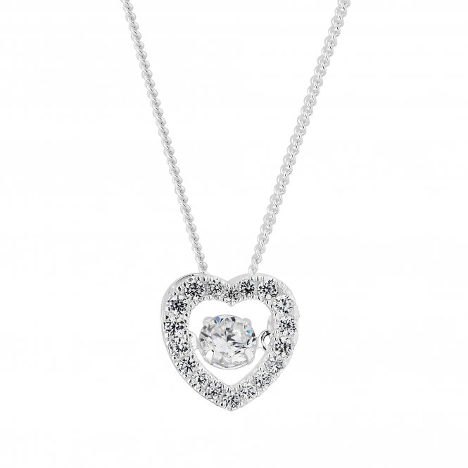 Sterling Silver Suspended Dancing Cubic Zirconia Heart Necklace