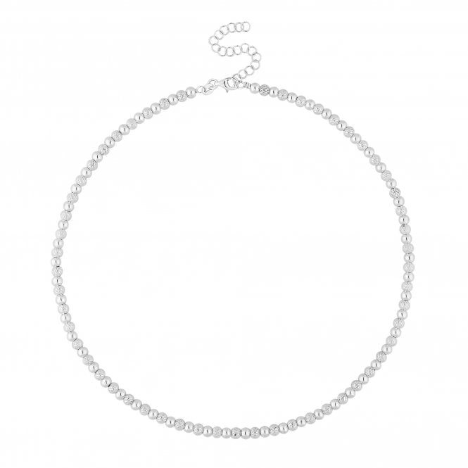 Sterling Silver Textured Bead Necklace