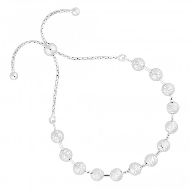 Sterling Silver Textured Bead Toggle Bracelet