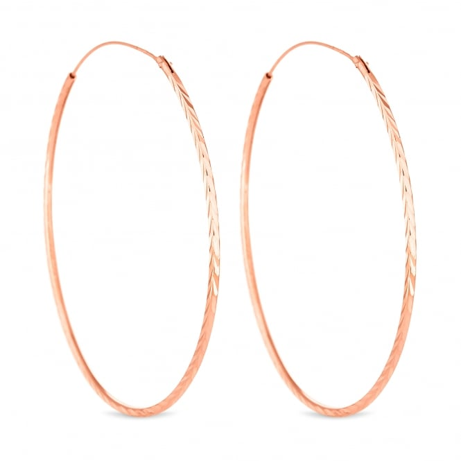 14ct Rose Gold Plated Sterling Silver Large Textured Hoop Earring