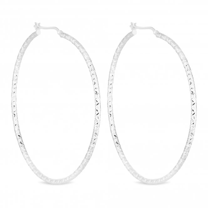 Sterling Silver Textured Hoop Earring
