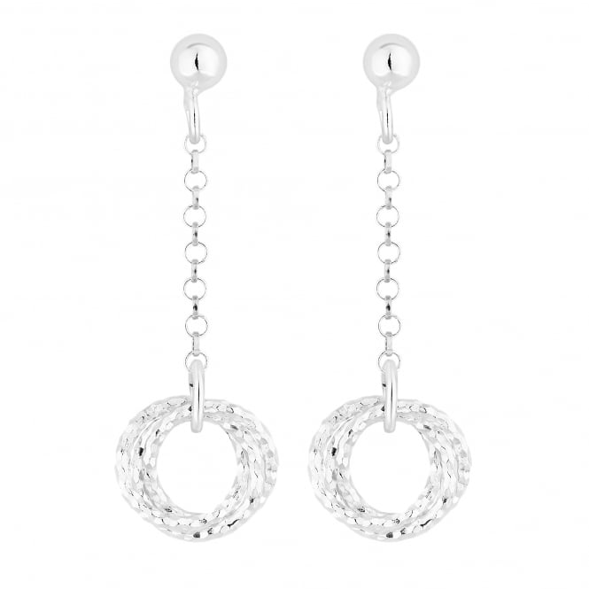 Simply Silver Sterling Silver Textured Knot Chain Drop Earring