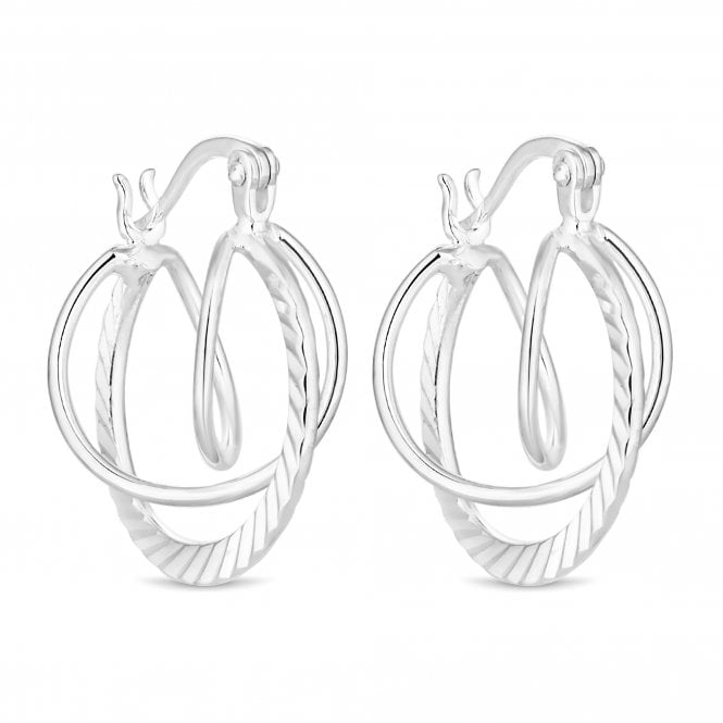 Sterling Silver Textured Orbit Hoop Earring