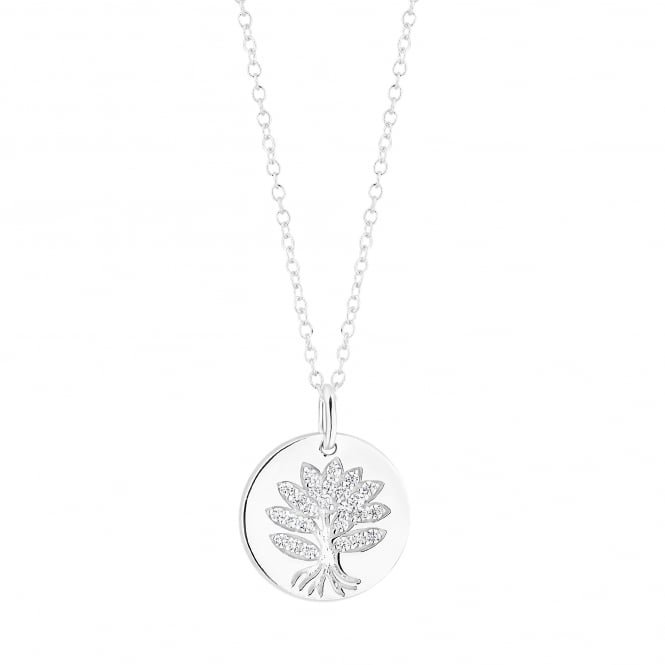 Simply Silver Sterling Silver Disc With Cubic Zirconia Tree Of Life Pendant Necklace