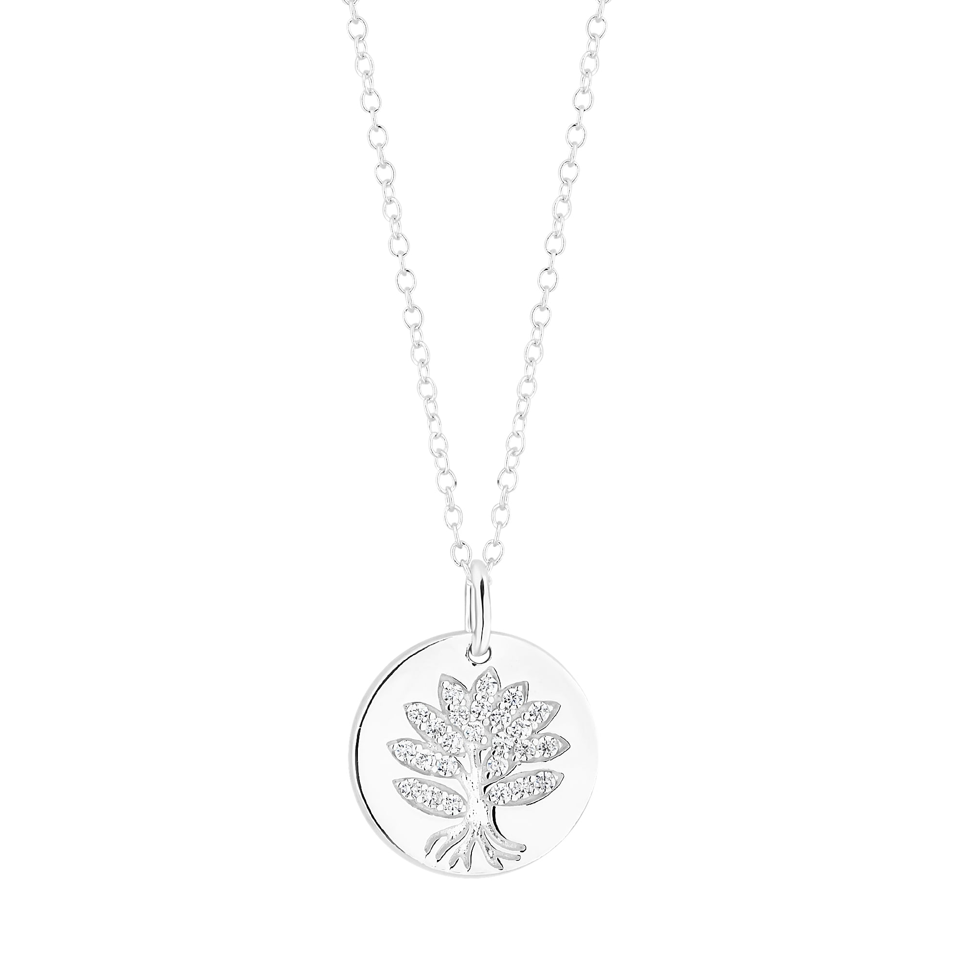 Simply silver sterling silver disc with cubic zirconia tree of life sterling silver disc with cubic zirconia tree of life pendant necklace mozeypictures Image collections