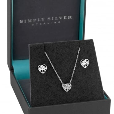 Sterling Silver Tree Of Life Jewellery Set In A Gift Box