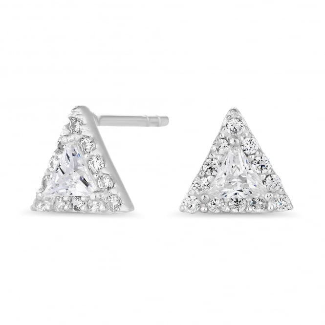 Sterling Silver Cubic Zirconia Triangle Halo Stud Earring