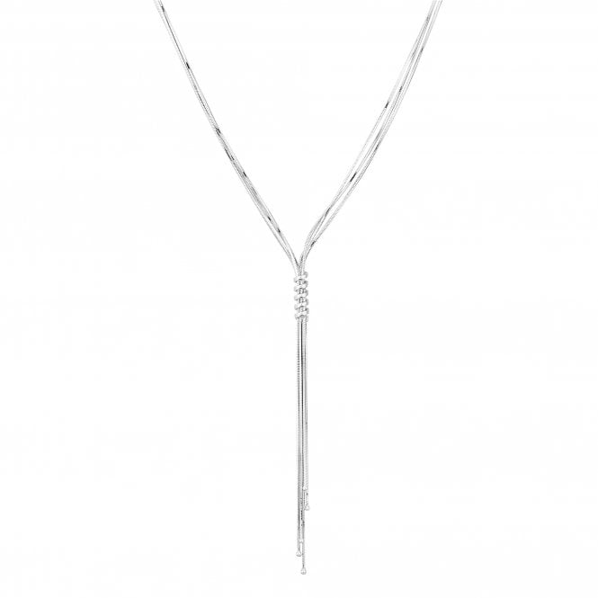 Sterling Silver Twist Chain Lariat Necklace