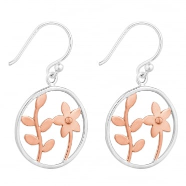 Sterling silver two tone floral open drop earring