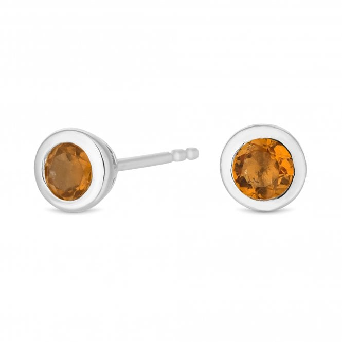 Sterling Silver Yellow Citrine November Birthstone Stud Earring